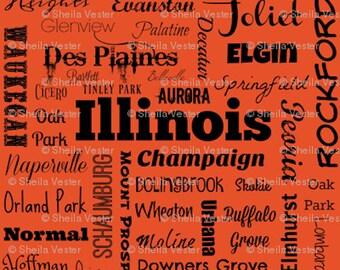 Illinois fabric - IL cities typography fat quarter - FQ - orange or gray