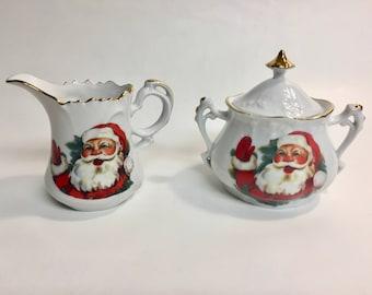Santa Claus North Pole Alaska Sugar and Creamer Set | Vintage Sugar Creamer Set | Vintage Santa China | Tea Set Sugar and Creamer