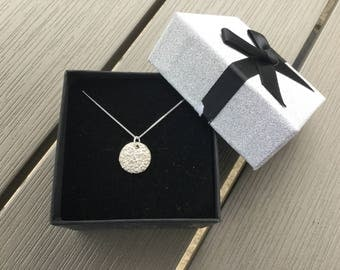 Silver Flower Necklace,Pure Silver Flower Pendant,Sterling Chain,Silver Flower Charm,Mother's Day,Birthday,Round Pendant,Circular Pendant
