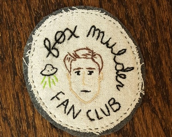 Iron On Fox Mulder Fan Club Hand Embroidered Patch