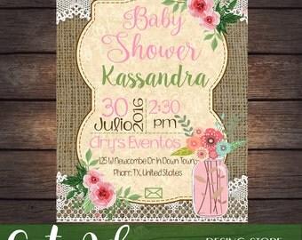Invitation Baby Shower printable Vintage
