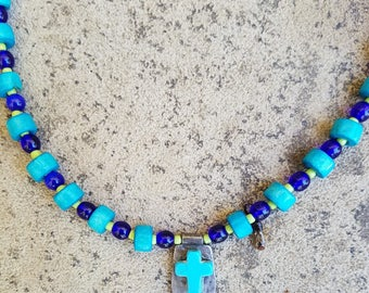 Cross,ChristainJewelry  Necklace Turquoise Jewelry, Beaded Necklace