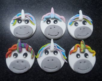 Edible Sugar Paste Unicorn cupcake toppers.