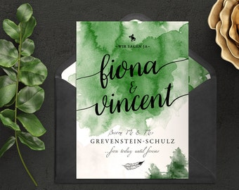 Wedding invitation | Vintage invitation | Pastel and watercolor look. Green, forest