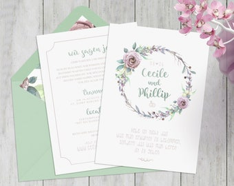 Einladung zur Hochzeit   Vintage Einladung mit Druck   Pastell und Wasserfarben Optik   Mintgrün, rosa, flieder, Wald