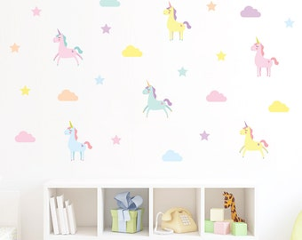 Unicorn decals, unicorn wall stickers, unicorn kids room, nursery clouds  decals, unicorn wall art, unicors wall decals, girl wall