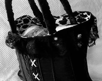 Black lace designer handbag vintage style Australian Made genuine leather