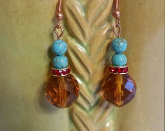 Turquoise and Orange Glass Earrings by BijoubrillianceNmore