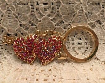Double Heart Crystal Key Chain