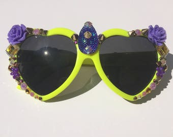 Yellow & Purple Heart Shapped Festival Sunglasses with Gold Rhinestones, Purple Roses/Flowers with Yellow/Gold Punk Rock Spikes.