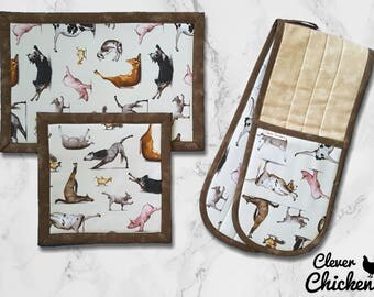 Kitchen Set Oven Glove and Hot Pad Farm Animals Doing Yoga Housewarming Gift Mothers Day