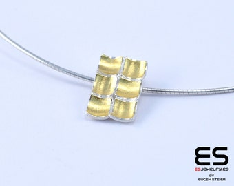 Pendant silver 925  and 24k  gold Mozaiku collection Keum Boo / Kum Boo ES Jewelry rectangular necklace
