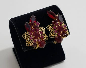 Gorgeous Garnet/Ruby Colored Rhinestone Cluster Clip Earrings, Accented with Gold Filigree Style Leaves