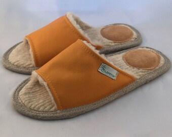 Orange slippers, men slippers, leather slippers, merino wool slippers, warm slippers, open toe slippers, home slippers, men's house shoes