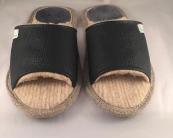 Black slippers, men slippers, leather slippers, merino wool slippers, warm slippers, open toe slippers, home slippers, men's house shoes