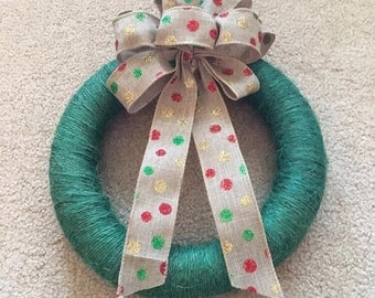 Polka Dot Bow Wreath - Green, Red, Gold