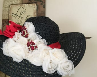Jeweled Black and Red Sunhat