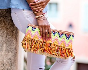 TROPICAL embroidered pouch