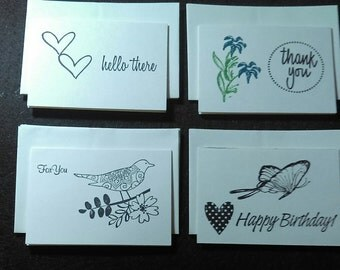 6 Handmade mini cards with envelopes (choose your set)