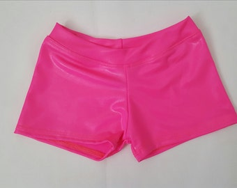 YOUTH SHORTIE SHORTS Pink Wet Look Hologram