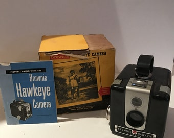 "Vintage KODAK Brownie ""Hawkeye"" Flash Camera In Box and with Manual"