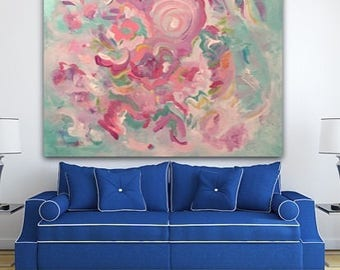 Pink abstract Floral Giclee Print Painting, wall art, wall decor, modern