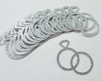 25 pcs Silver or Gold Glitter WEDDING RINGS Confetti / Ring Confetti / Wedding Decorations / Wedding Confetti / Bridal Shower Decorations