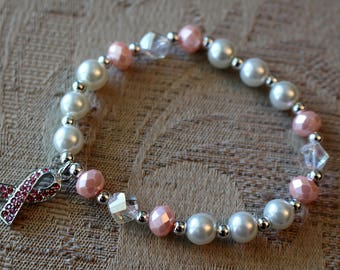 A Beautiful Breast Cancer Awareness Stretch Bracelet