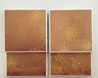 Sunburst Tile Coasters
