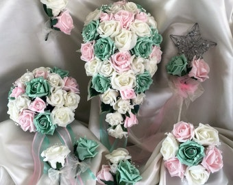 Wedding Flowers Mint, Pale Pink  & Ivory wedding bouquets, Brides, Bridesmaids, Flowergirls etc