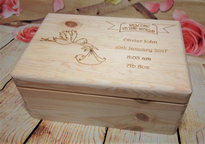 Personalised Baby Gifts Keepsake Boxes : Personalised wooden box baby newborn babyshower bespoke gift