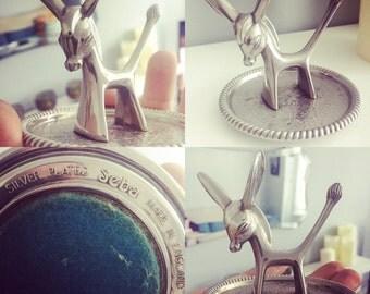 Vintage Seba Silver Plates Donkey Ring/Trinjet holder.