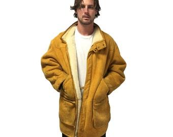 Vintage Hugo Boss Shearling Jacket Size L