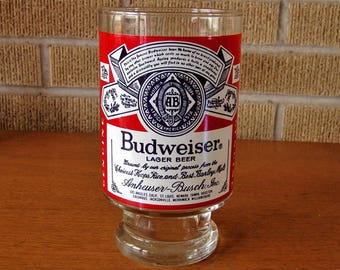 1970's Budweiser Beer Glass, St. Louis Missouri Brewery, Large Glass for Display in Mancave or Tavern. The King of Beers, Anheuser-Busch