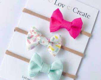 Baby girl bow Headband set - baby bow - infant bows - toddler bows - nylon headbands - bow clips - pink bow /sprinkles / birthday - mint bow