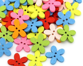 20 buttons 2-hole colorful wooden flower-shaped scrapbooking