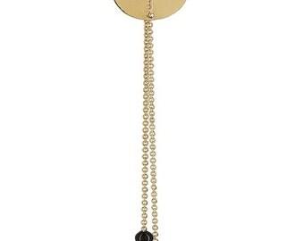 Earrings string very fine Medallion round flan
