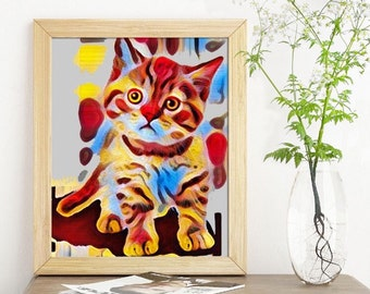 Cat Kitten Kitty art Printable Art Kitten Paint Download Digital Print You Print & Frame