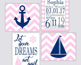 Nautical Baby Girl's Nursery Wall Art with Birth Announcement