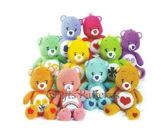 Crochet Toys Pattern, Amigurumi pattern, Care Bears, vintage crochet pattern