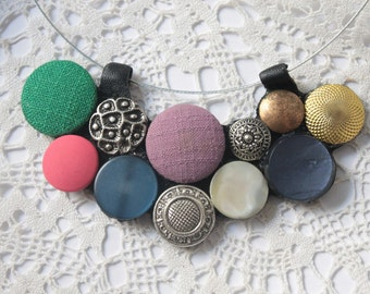 colorful button necklace // repurpused button hoop necklace // reused button statement hoop necklace
