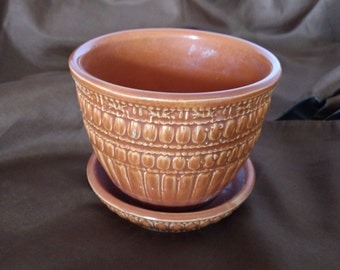 Vintage McCoy Orange Beaded Flower Pot