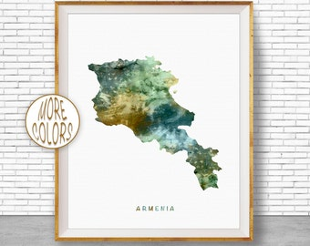 Armenia Map Art, Armenia Print, Watercolor Map, Map Painting, Map Artwork, Country Art, Office Decorations, Country Map Art Print Zone
