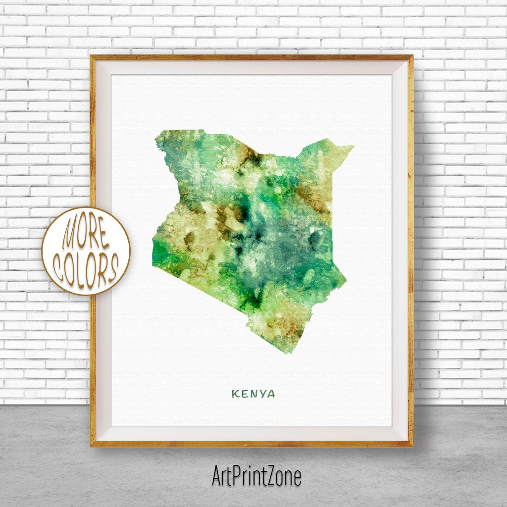 Kenya Art Watercolor Map Office Wall Decor Living Room Print Zone
