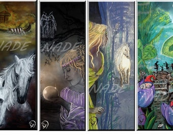 "Set of 4 bookmarks illustration ""artist NADE"" legend"