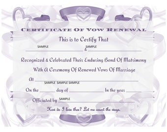 Renew your vows certificate keepsake