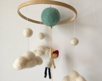 """Needle felted """"up up and away"""" mobile"""