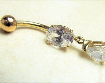 14kt Solid Yellow Gold (nickel free) Dangle Belly Ring with white cz's 14g