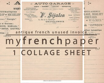 Antique French Invoice Digital Paper, Instant Download Digital Paper Vintage, Printable Paper, French Paper, Antique Paper Craft Supplies