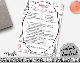 Movie Love Quote Game in Paris Bridal Shower Pink And Gray Theme, famous movie quotes, paris theme bridal, party theme, party decor - NJAL9